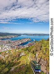 Beautiful panorama of Bergen from Floyen in Norway