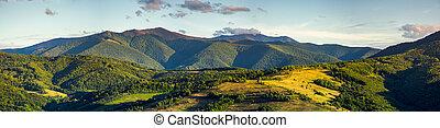 beautiful panorama of Borzhava mountain ridge in the...