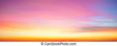 Beautiful Panorama of bright  sky and clouds at morning background. Sky pink and blue colors