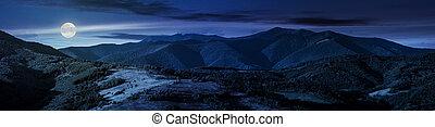 beautiful panorama of mountain ridge at night in full moon...