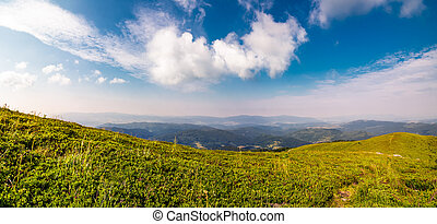 beautiful panorama of mountainous landscape. blue sky with...