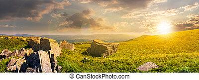 beautiful panorama of Runa mountain at sunset. huge rocky...