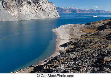Beautiful Panorama of sea and mountains in the Canadian Arctic