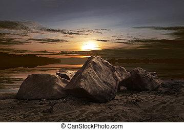 Beautiful panorama of sunset view