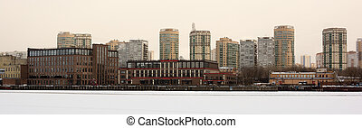 beautiful panorama of the city of Moscow, winter landscape with beautiful houses