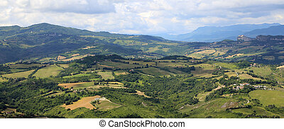 beautiful panorama of the Italian Apennines and the valleys ...