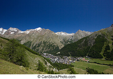 Beautiful panorama of the mountains in Saas Fee