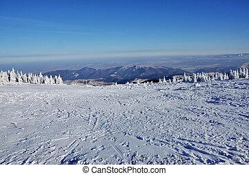 Beautiful panorama of winter mountains