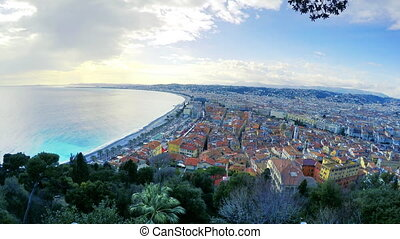 Beautiful panoramic aerial view of beach in City of Nice