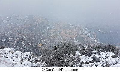 Beautiful Panoramic Aerial View of Monaco Under The Snow