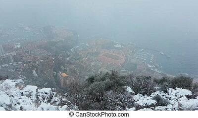 Beautiful Panoramic Aerial View of Monaco Under The Snow