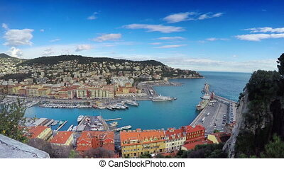 Beautiful panoramic aerial view of Port in Nice