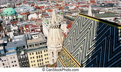 Beautiful panoramic footage of rooftops at old european city...