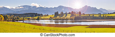beautiful panoramic landscape with lake in Bavaria