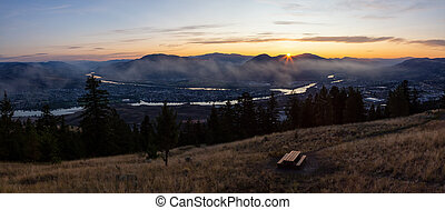 Beautiful Panoramic View of a Canadian City, Kamloops