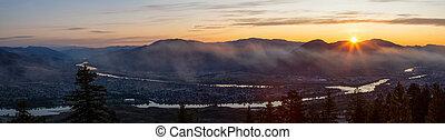 Beautiful Panoramic View of a Canadian City, Kamloops