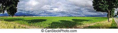 Beautiful panoramic view of alsacien fields