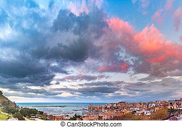 Castellammare del Golfo at sunset, Sicily, Italy