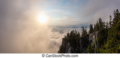Beautiful Panoramic View of Canadian Mountain Landscape