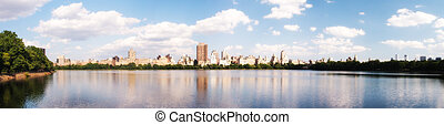 Beautiful panoramic view of Central Park in summer season, NYC.