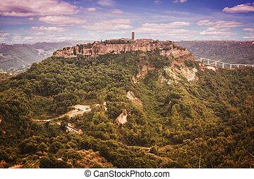 Beautiful panoramic view of famous Civita di Bagnoregio with Tiber valley, Lazio, Italy