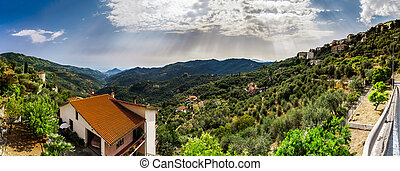Beautiful panoramic view of italien mountains, tourism concept