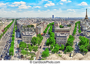 Beautiful panoramic view of Paris from the roof of the Triumphal Arch. Champs Elysees and the Eiffel Tower.