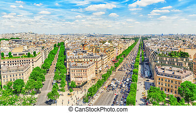 Beautiful panoramic view of Paris from the roof of the Triumphal Arch. Champs Elysees.