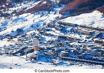 Beautiful panoramic view of Sestriere village