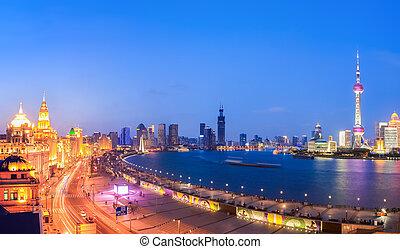 beautiful panoramic view of shanghai in nightfall