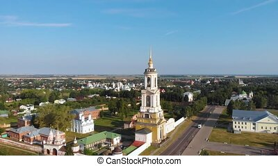 Beautiful panoramic view of Suzdal in summer at sunrise. bell tower and Rizopolozhensky Monastery in Suzdal. Suzdal is a famous tourist attraction and part of the Golden Ring of Russia