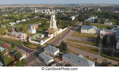 Beautiful panoramic view of Suzdal in summer at sunrise....
