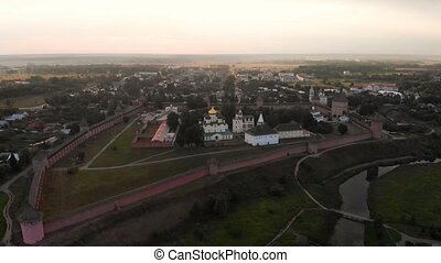 Beautiful panoramic view of Suzdal in summer at sunrise. St...