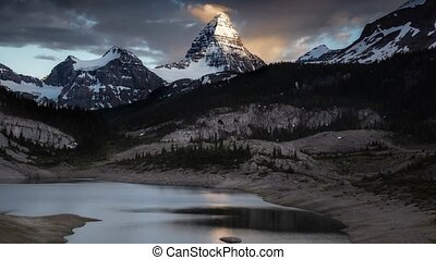 Beautiful Panoramic View of the Iconic Canadian Rocky Mountain Landscape during a Dark and Moody Sunset. Taken near Banff, boarder of BC and Alberta, Canada. Parallax Panorama