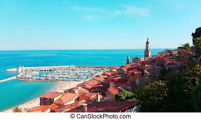 Beautiful Panoramic View of the Old Town of Menton -...