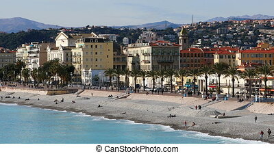 Panoramic View Of The Promenade Des Anglais In Nice -...