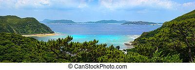 Beautiful panoramic view of Tokashiku Beach on the tropical island of Tokashiki in Okinawa, Japan