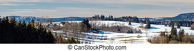 Beautiful panoramic view of winter mountain landscape