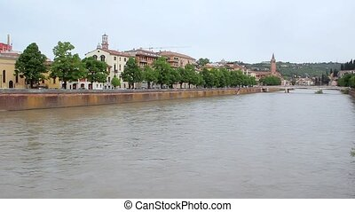 Beautiful Panoramic View Over The City Of Verona Italy