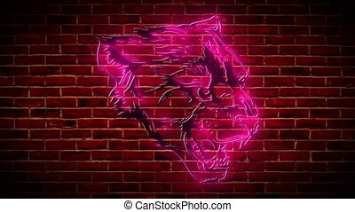 beautiful panther neon video animation - beautiful panther ...