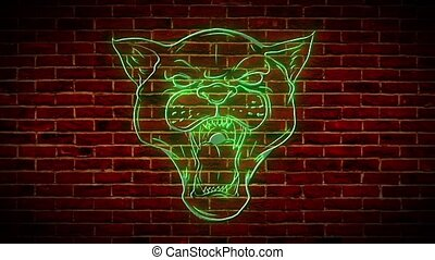beautiful panther neon video animation