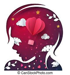 Beautiful paper head girl. Air balloon illustration.
