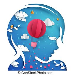 Beautiful paper head girl. Air balloon illustration.