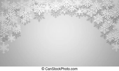 Beautiful paper snowflakes swinging on white background Christmas greeting card animation background (space for text)