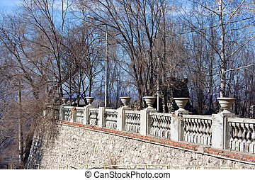 Beautiful parapet in classical style on the hill