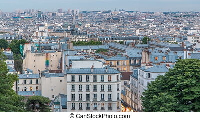 Beautiful Paris cityscape day to night timelapse seen from...