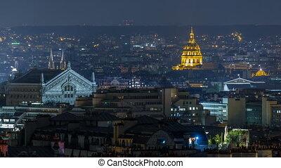 Beautiful Paris night cityscape timelapse seen from Montmartre. Paris, France
