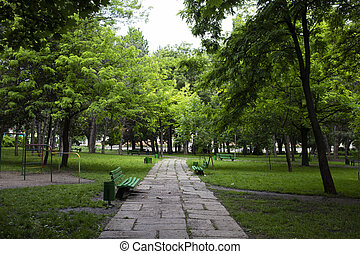 Beautiful park in a city.