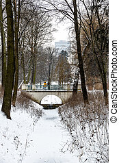 park lazienki Krolewskie in Warsaw Poland on a snowy winter day with a frozen stream and a bridge