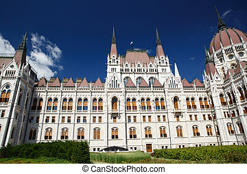 Beautiful parliament building close-up in the summer. Budapest